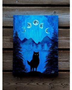Moon Wolf Astrology Witchcraft leuchtet im Dunkeln Mondphasen