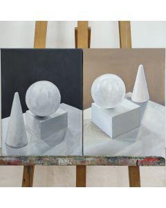 zwei weiße Stillleben
